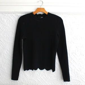 Aqua Scalloped Hem Cashmere Sweater NWOT